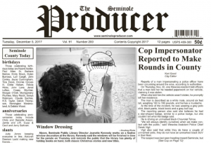 Front page of Seminole Producter 12/05/2017